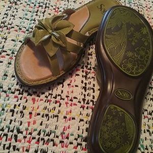 green leather sandals